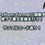 【Python】format()関数を使って書式変換を行う!サンプルコードあり!